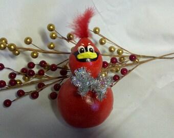 Christmas Cardinal Mini Gourd - Silver Bow