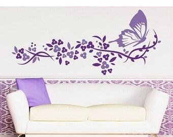 20% OFF Summer Sale Butterflight Flight flower wall decal, sticker, mural, vinyl wall art