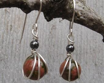 Small Unikite Sterling Silver Earrings - Wirewrapped Stone Bead with Hematite , Dangle, Women, Stone Jewelry