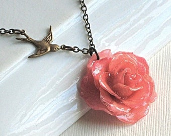 Real Pink Rose Necklace - Natural Preserved, Bird Necklace, Botanical Jewelry, Preserved Flower, Flower Jewelry
