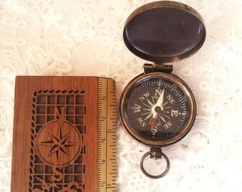 SECONDS- 5  Miniature Brass Compass -  Destash, Close Out, 36mm, Working  Brass Compass w/ Lid - STEAMPUNK Marked Down, Brass Compass