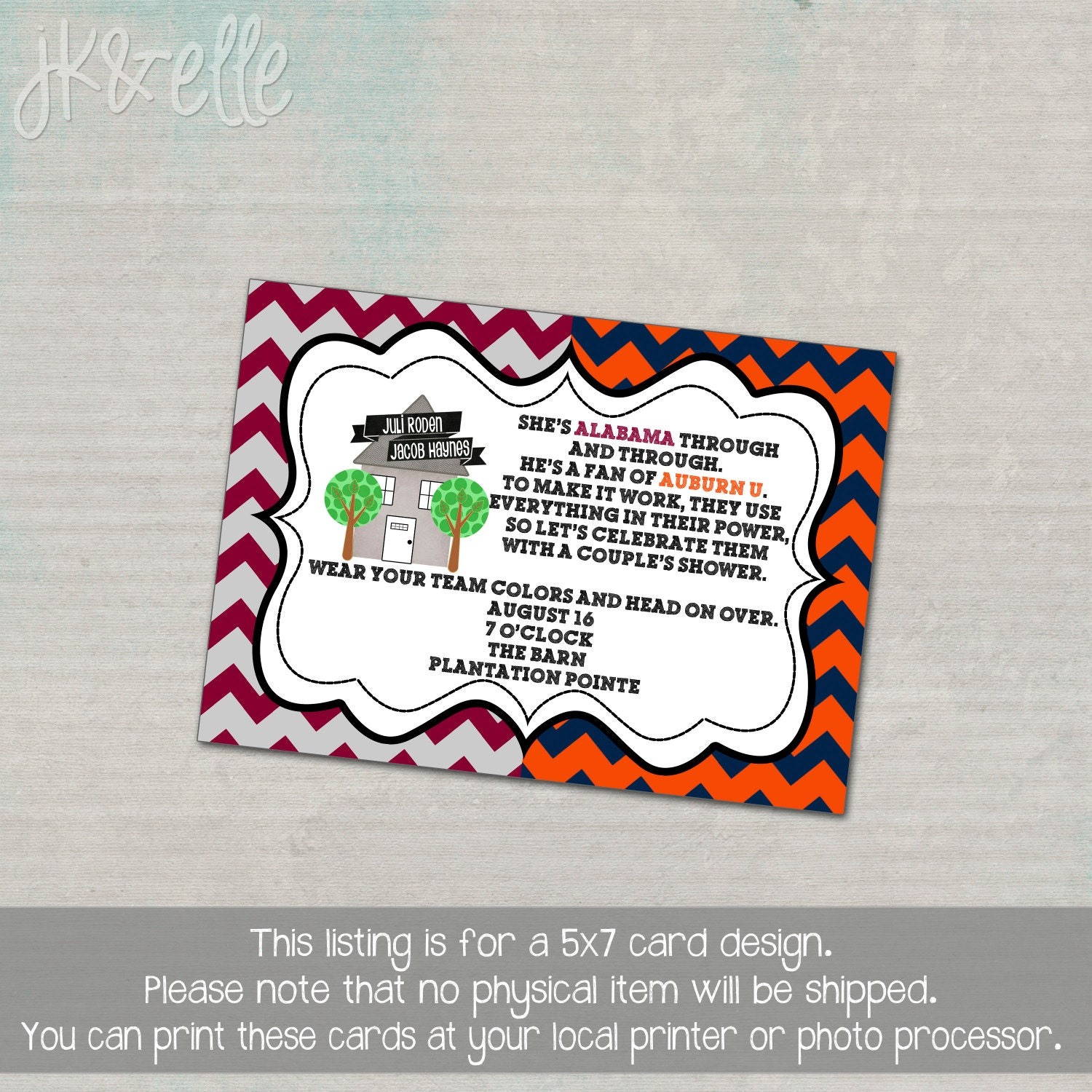 House Divided Couple s Shower Invite ALABAMA & AUBURN