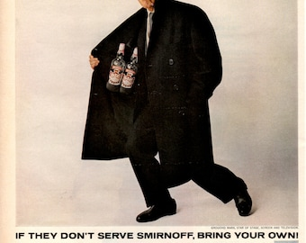 1965 Smirnoff vodka with Groucho Marx vintage magazine ad wall decor  (LG)