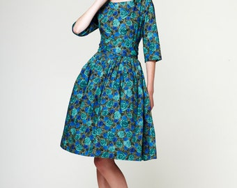 Wedding guest dress 1950s dress 50s dress Plus size dress Liberty print dress Retro dress Pin up dress Handmade dress Dress with pockets