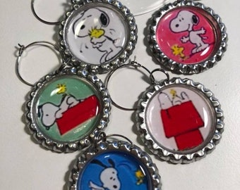 Snoopy and Woodstock Flattened Bottle Cap Wine Charms, Wine Accessories, Party Favors, Bunco Prize, Stocking Stuffers - Set of 5