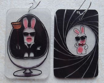 lapin crétin shrink film earrings