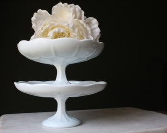 Vintage Milk Glass Cake Stand Cupcake Platter Wedding Pedestal Dessert Plate Set of 2