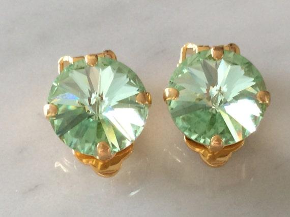 Chrysolite Swarovski Crystal Clip On Earrings, Yellow Gold