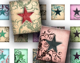 INSTANT DOWNLOAD Digital Images Collage Sheet - Stars - Swirls - Scrabble - .75 x .873 Inch for Tile Pendants - Magnets - Scrapbooking (S78)