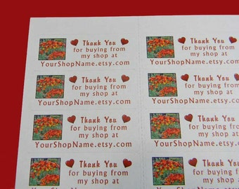 90 PERSONALIZED Thank You Labels. 3 Sheets of White 1-Inch Labels. 5384