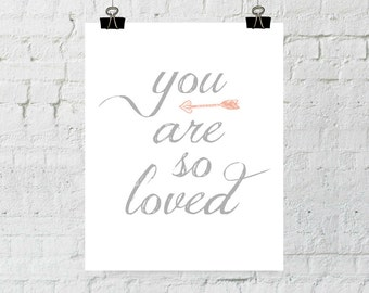 You Are So Loved, Coral Nursery Decor, Baby Girl Nursery, Wall Art Prints, Instant Download, ADOPTION FUNDRAISER