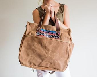 Waxed Canvas Diaper Bag Soft Brown Boho