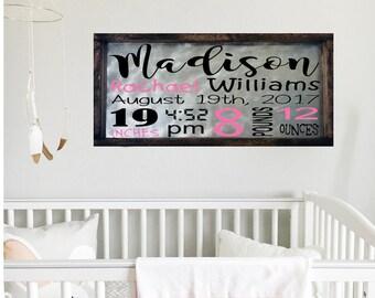Baby Stat Sign Baby Birth Sign Baby Birth Facts Sign Baby Birth Announcement Sign Baby Girl Sign Woodland Nursery Decor Baby Name Sign