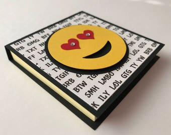 "Handmade ""Emoji"" Post It Note Holder, Notepad"