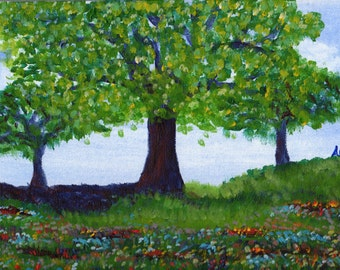 Flowers Blooming Under Tree - Acrylic Landscape Painting