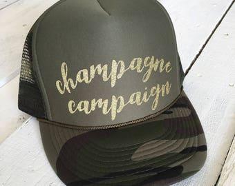 Champagne Campaign, custom glitter trucker hat