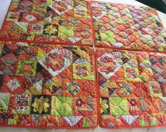 SET of 4 Colorful and Cheery Quilted Flower  Boho Hippy Vintage Place mats, Flower power placemats, Orange, Yellow, Brown, 1970s place mats