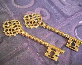 "Bulk Skeleton Keys Antiqued Gold Keys Skeleton Keys Bulk Wedding Keys 68mm 2.67"" Big Keys 25 pieces Wholesale Skeleton Keys Steampunk Keys"