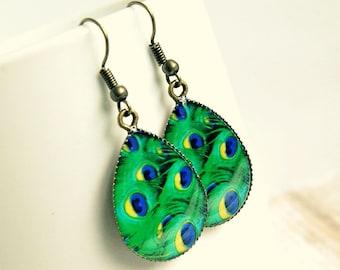 drop earrings, peacock, boho jewelry, green earrings, gift for her, under 20
