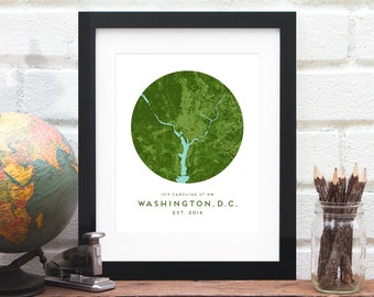 Washington DC Map, DC Area Map, Personalized Washington DC Map Gift, Personalized Nation's Capital Map Art, Washington dc Area - Art Print