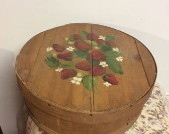 Primitive Large Round Wooden Box Handpainted Strawberries Farmhouse Decor Rustic Style Pantry Country Cottage