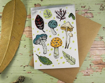 Toadstools Recycled Blank Greeting Card
