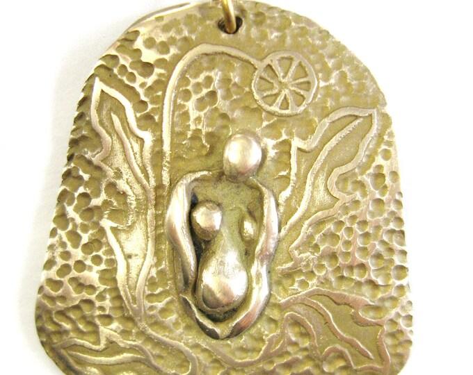 Featured listing image: Dandelion Goddess sculptural pendant in Bronze medicinal wild flowering plants goddess jewelry