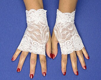 White Lace Fingerless Gloves  - White Stretch Lace Gloves - White Fingerless Gloves - White Wedding Gloves - White Lace Gloves