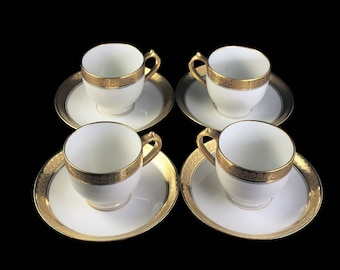 Antique Demitasse Cups and Saucers, CH Field Haviland, Limoges, GDA France, Set of 4, Gold Encrusted, Schleiger 405, Hard To Find China