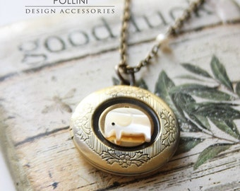 White Elephant Necklace. Good Luck Elephant Locket Necklace. Mother of Pearl (LN-02)