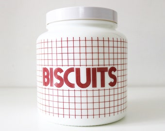 70s CLP geometric red and white biscuit jar. Milk glass and plastic. Made in Belgium Biltons CLP