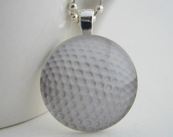 Golf Ball Glass Tile Pendant with Free Necklace