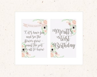 Table Signs - set of 2 4x6, Botanical Garden Collection  - Korean 1st birthday, Dohl, Dol, Doljabi