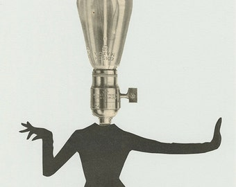 Nothing turned her on like a bright idea. Original collage by Vivienne Strauss.