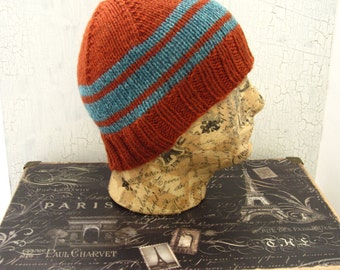 Men's Knit Hat, Orange Striped Hat, Gifts for Him, Hand Knit Men's Hat, Men's Beanie, Orange Beanie, Knit Beanie, Winter Accessory