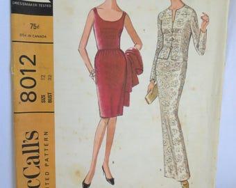 60s Dress, Cocktail Dress, Vintage Pattern, 60s Dress Pattern, Sleeveless Dress Pattern, Dress Pattern, Mccalls 8012, Jacket Pattern, Jacket
