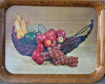 Vintage Metal Serving Tray Fruit Still Life 2 Trays Very Nice