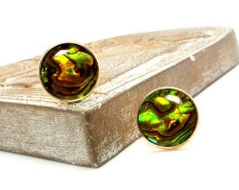 Golden Yellow Paua Shell Cufflinks IV, 20mm Round Yellow Paua Shell Cufflinks, Paua Shell Cufflinks