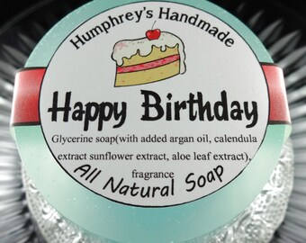 HAPPY BIRTHDAY soap, Cake Scented Shave & Shampoo Soap, Round Teal Puck, Magical Scent, All In One Birthday Soap Argan Oil Aloe Leaf