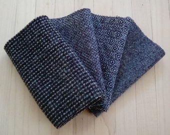 """Hand Felted Wool, SOOT, Charcoal and White Textures, Four 6.5"""" x 16"""" pieces for Rug Hooking, Applique and Crafts"""