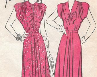 Bust 34-1940's Misses' Dress Advance 4234 Sz 16 Hip 37