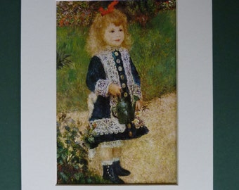 Vintage Renoir Print - Pretty Little Girl With A Watering Can - French Art Print - Country Garden - Gardening Picture - Impressionist Art