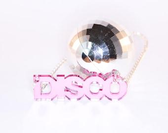 DISCO; Small Mirrored Perspex Necklace