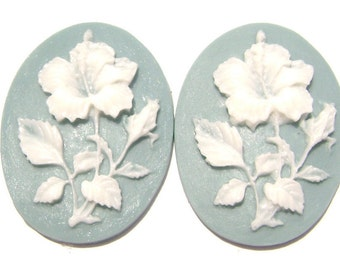 Cab Cabochon Cameo Acrylic Resin Flower White on Turquoise, 40x30mm, 5 Qty