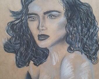 "A3 Oil Pastel illustration ""Grace"""