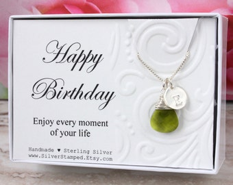 Green necklace, Sterling Silver initial necklace, green Swarovski teardrop crystal August birthday gift, August birthstone, St Patrick's Day