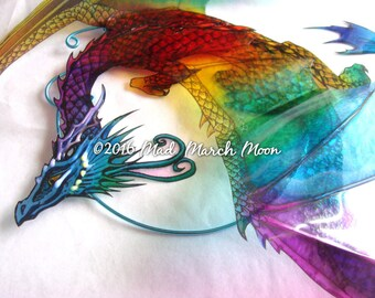 Rainbow Dragon Suncatcher, 3D iridescent suncatcher, with clear suction cup fitting