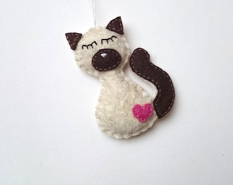 Siamese kitty - handmande felt ornaments for cat-lovers - special OOAK gift idea for Christmas, outstanding home decor - Baby shower