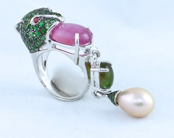Exquisite Green Tourmaline & Pink Ruby Panther Pearl Charm Ring