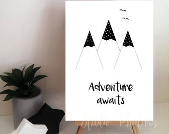 Adventure Awaits - Inspirational Monochrome Print for Children - Mountains Print